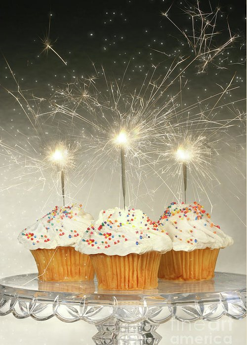 Anniversary Greeting Card featuring the photograph Cupcakes With Sparklers by Sandra Cunningham