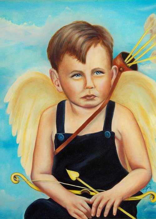 Angel Greeting Card featuring the painting Cupid by Joni McPherson