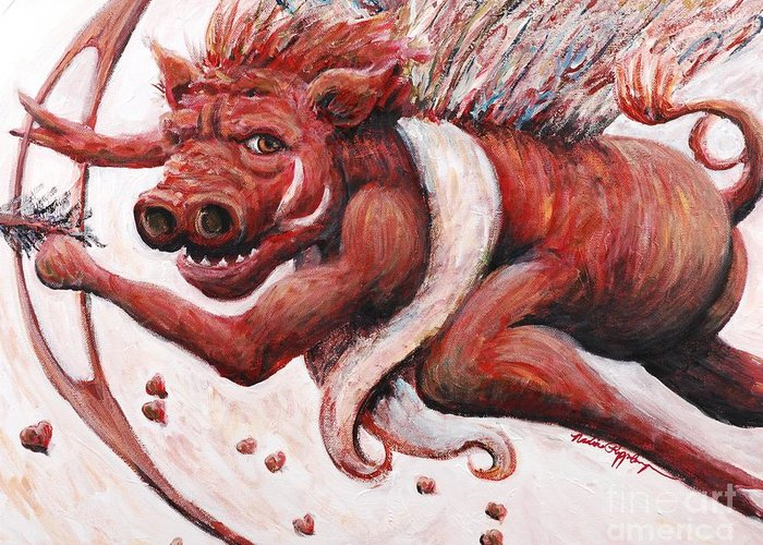 Pig Greeting Card featuring the painting Cupig by Nadine Rippelmeyer