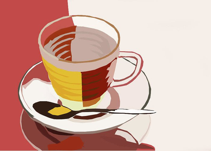 Tea Greeting Card featuring the digital art Cuppa by Tanya Mutton