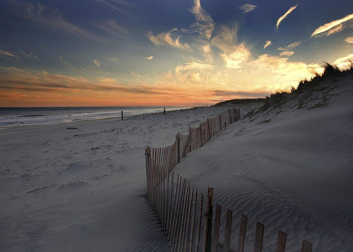 Cupsogue Beach Sunset Greeting Card featuring the photograph Cupsogue Beach Sunset by Jim Dohms