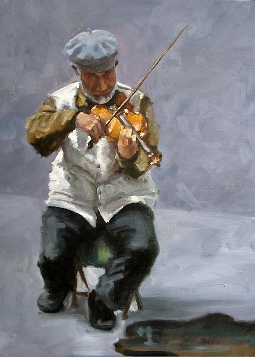 Figure Greeting Card featuring the painting Curbside Concerto by Kathy Busillo