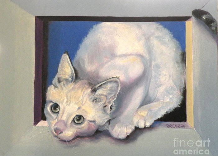 Cat Greeting Card Greeting Card featuring the painting Curiosity by Susan A Becker