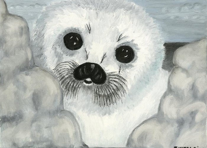 A Curious Arctic Seal Pup Peeking Through Icebergs Greeting Card featuring the painting Curious Arctic Seal Pup by Tanna Lee M Wells