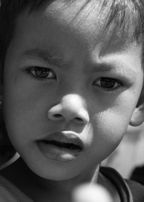 B&w black & White Child Cambodian Curious Greeting Card featuring the photograph Curious Cambodian Child by Linda Russell