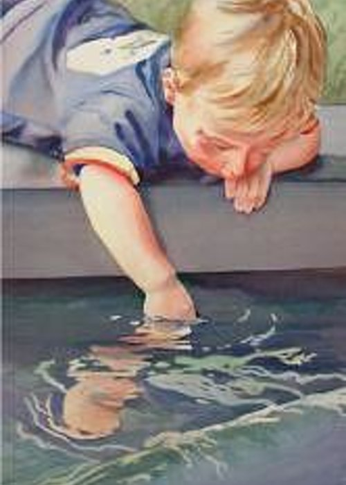 Boy Playing In Water Greeting Card featuring the painting Curious by Marlene Gremillion
