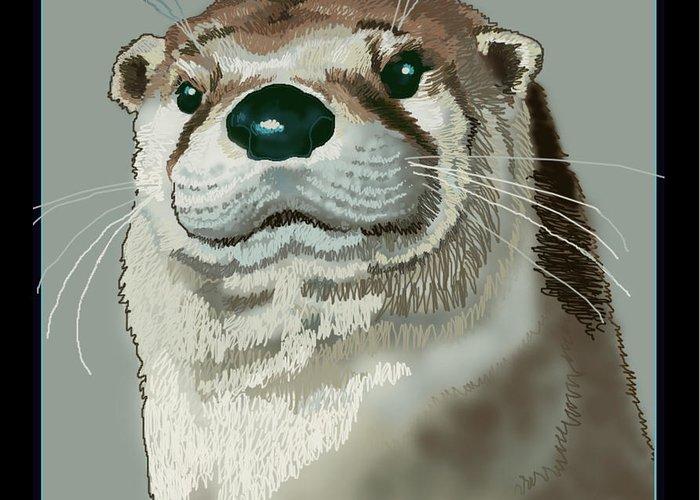 Nature Greeting Card featuring the digital art Curious Otter by Jey Manokaran
