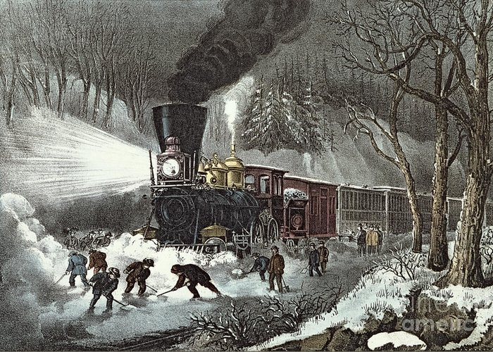 American Greeting Card featuring the painting Currier And Ives by American Railroad Scene