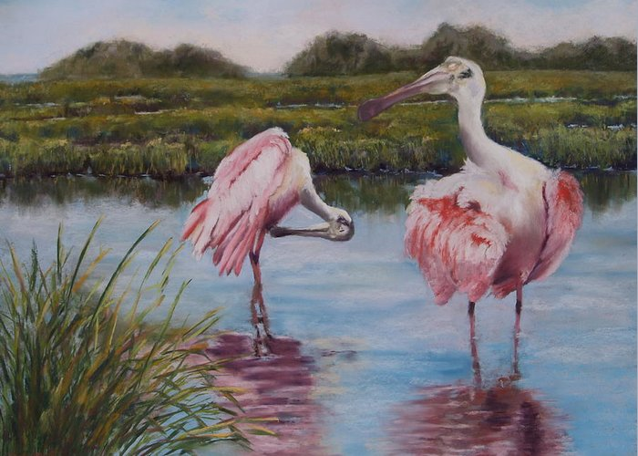 Roseate Spoonbills Greeting Card featuring the painting Curtain Call by Sarah Bernhardt
