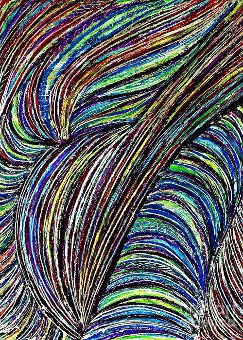 Abstract Greeting Card featuring the drawing Curved Lines 7 by Sarah Loft