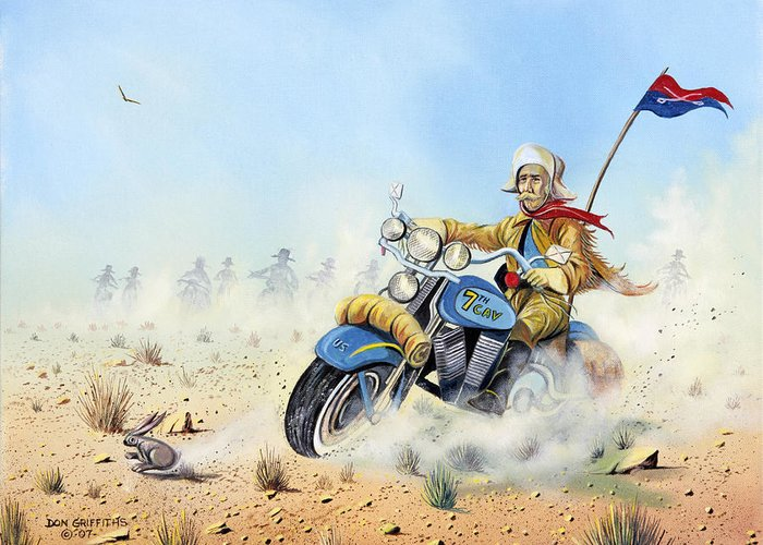 Bike Greeting Card featuring the painting Custer On A Hog by Don Griffiths