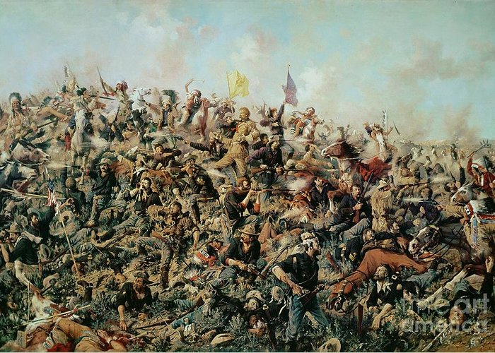 Battle Of Little Bighorn; Battlefield; Soldiers; Troops; Native American Indians; Tribe; Flags; Banners; War; Warfare; American Indian Wars; Big Horn; Paxon; Demise; Defeat Greeting Card featuring the painting Custer's Last Stand by Edgar Samuel Paxson