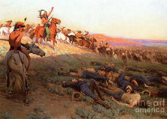 Custer's Last Stand; Battle; Little Bighorn; Greasy Grass; George Armstrong Custer; Crazy Horse; Native American Indian; Indians; Americans; United States; Army; Cavalry; Horses; Great Sioux War; Lakota; Northern Cheyenne; Arapho; Dead; Death; Bodies; Triumph; Victory; Triumphal; Leader; Dusk; Sunset; Dramatic; Heroic; Black Hills War; Combat; Warfare; Battles Greeting Card featuring the painting Custer's Last Stand by Richard Lorenz
