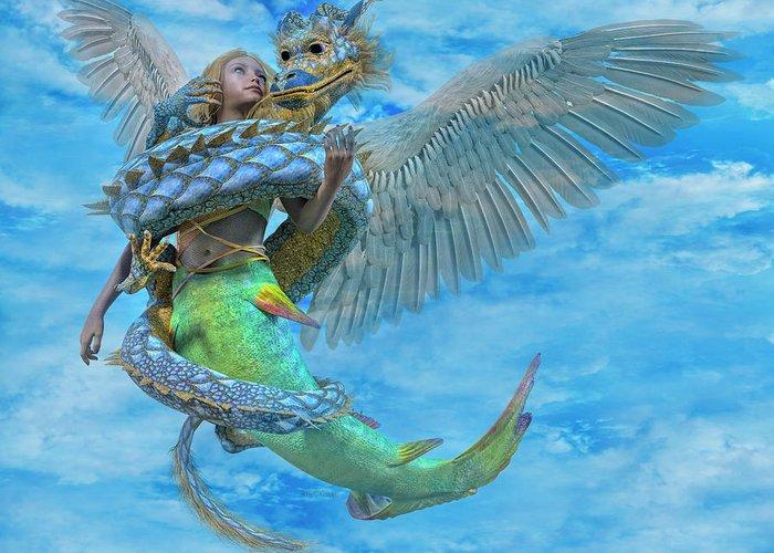 Mermaid Greeting Card featuring the digital art Custom 06042017 by Betsy Knapp