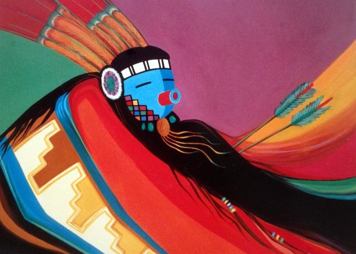 Kachina Greeting Card featuring the painting Custom Kachina by Marlene Burns