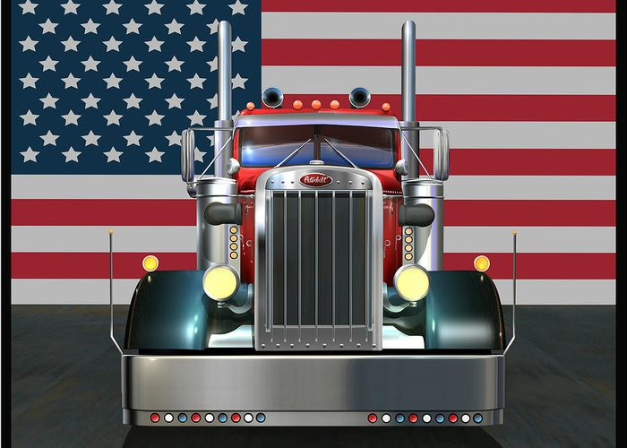 Peterbilt Greeting Card featuring the digital art Custom Peterbilt 2 by Stuart Swartz