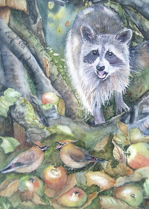 Wildlife Art Greeting Card featuring the painting Cut It Out by Patricia Pushaw