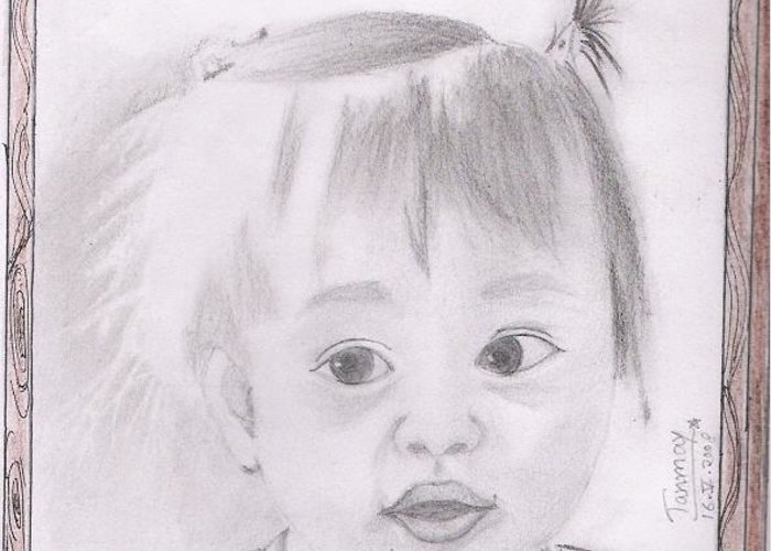 Indian Boy Drawing Greeting Card featuring the painting Cute Baby by Tanmay Singh