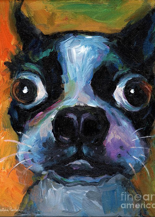 Cute Boston Terrier Greeting Card featuring the painting Cute Boston Terrier Puppy Art by Svetlana Novikova