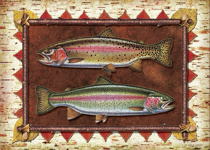 Trout Greeting Card featuring the painting Cutthroat And Rainbow Trout Lodge by JQ Licensing