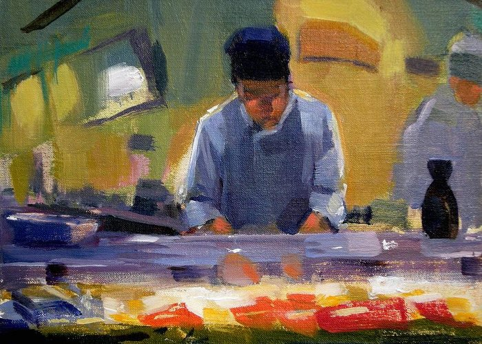 Sushi Greeting Card featuring the painting Cutting Sushi by Merle Keller