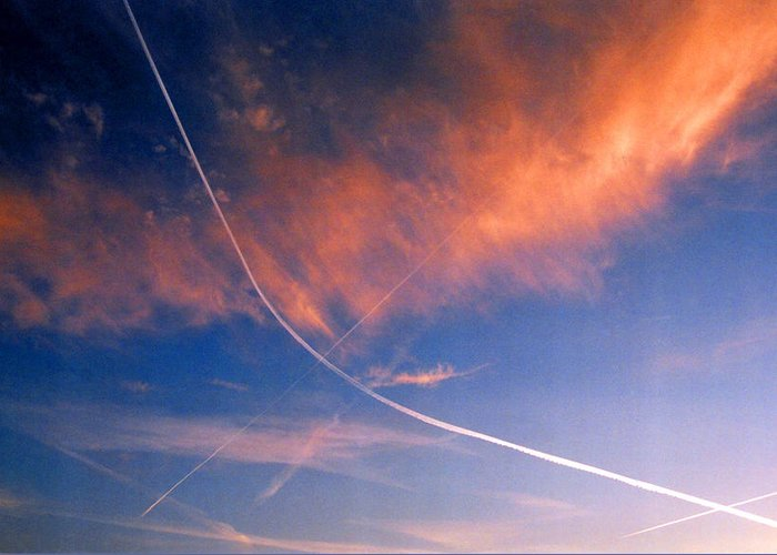 Contrails Greeting Card featuring the photograph Cutting The Sky 3 by Lyle Crump