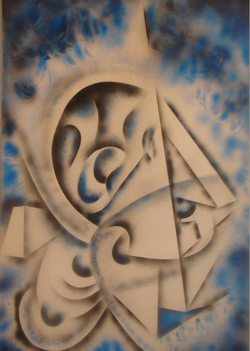 Abstract Greeting Card featuring the painting Cuttingedge by Eugene Foltuz