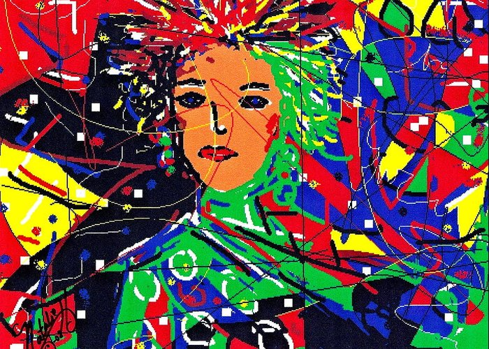 Woman Greeting Card featuring the digital art Cyberspace Goddess by Natalie Holland
