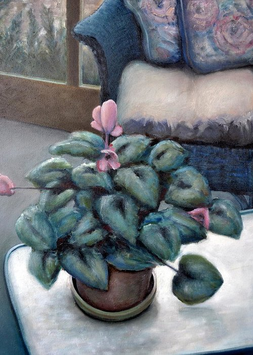 Cyclamen Greeting Card featuring the painting Cyclamen And Wicker by Michelle Calkins