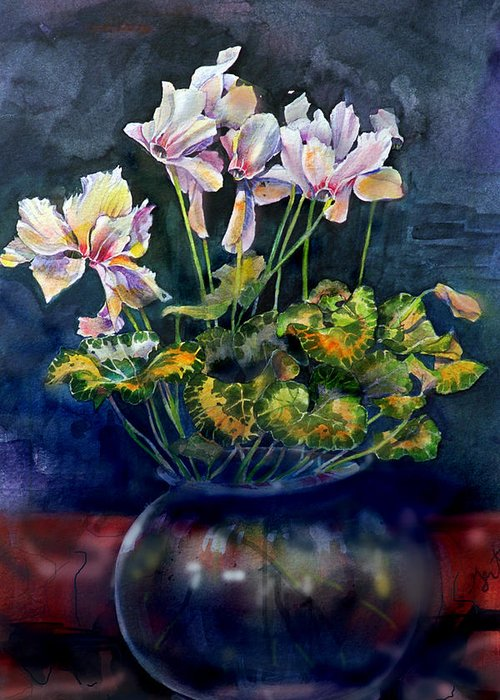 Cyclamen Greeting Card featuring the painting Cyclamen In A Vase by Gertrude Palmer