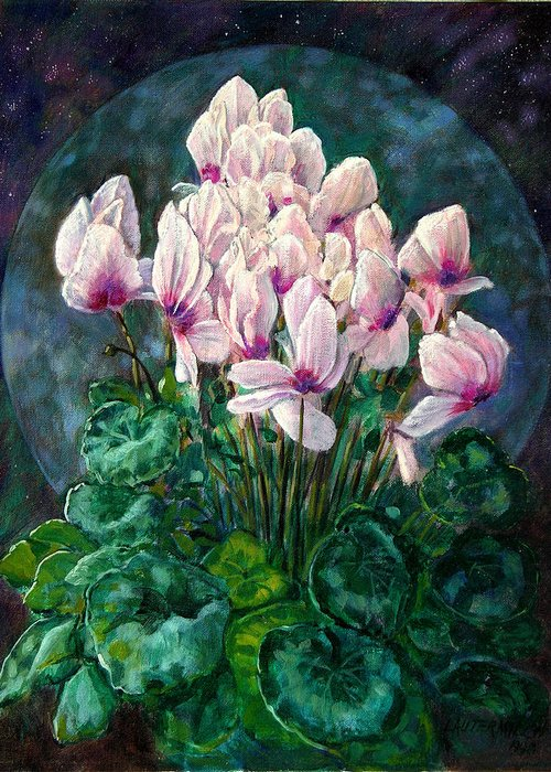 Cyclamen Flowers Greeting Card featuring the painting Cyclamen In Orbit by John Lautermilch