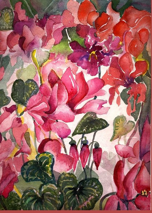 Cyclamen Greeting Card featuring the painting Cyclamen by Mindy Newman