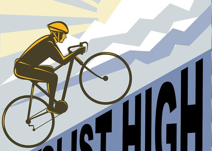 Cyclist Greeting Card featuring the digital art Cyclist Racing Bike by Aloysius Patrimonio