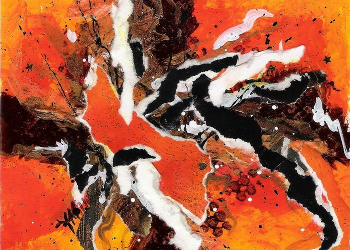 Abstract Greeting Card featuring the painting Cyhm Orange by Tara Milliken