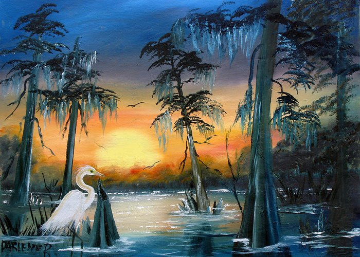 Swamp Greeting Card featuring the painting Cypress Swamp by Darlene Green
