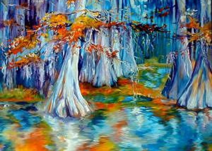 Tree Greeting Card featuring the painting CYPRESS TREES ALONG The BAYOU by Marcia Baldwin
