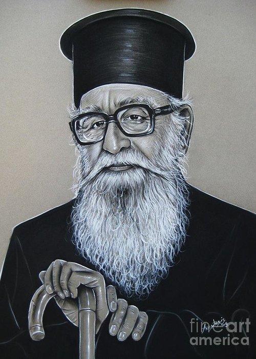 Priest Greeting Card featuring the painting Cypriot Priest by Anastasis Anastasi