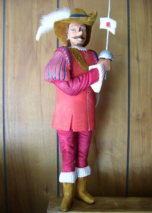 Decor Greeting Card featuring the sculpture Cyrano Debergeac by Michael Pasko