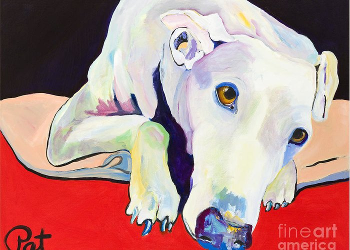 Animals Pets Greyhound Greeting Card featuring the painting Cyrus by Pat Saunders-White
