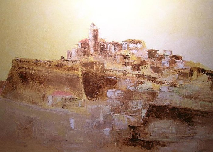 Original Cityscpae Greeting Card featuring the painting D Alt Vila Ibiza Old Town by Lizzy Forrester