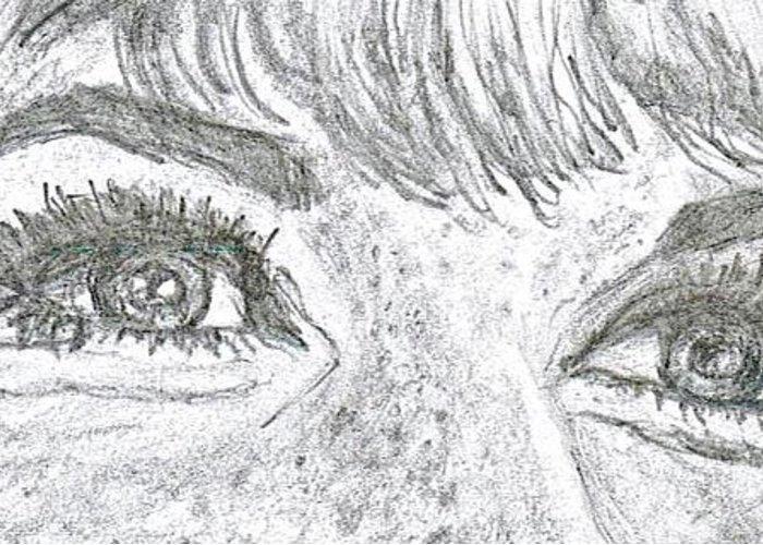 Doris Day Greeting Card featuring the drawing D D Eyes by Carol Wisniewski