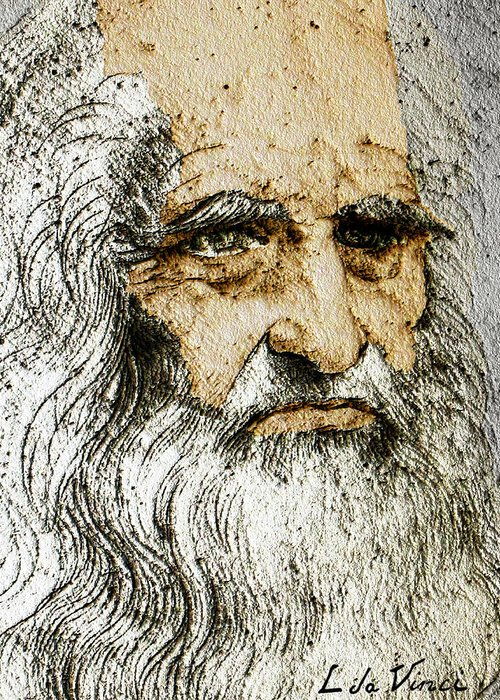 Da Vinci Self Portrait Remastered With Added Color By Da Vinci Greeting Card For Sale By Tony Rubino