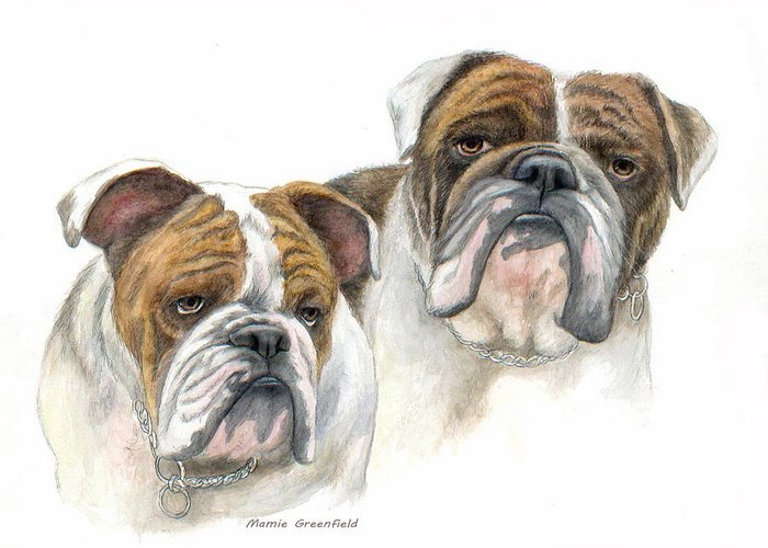Portraits Greeting Card featuring the painting daBullies by Mamie Greenfield