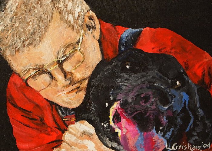 Pets Greeting Card featuring the painting Daddy And Borus by Laura Grisham