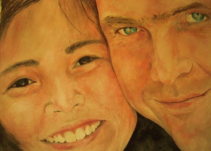 Portrait Greeting Card featuring the painting Daddy N Me by Susan Gauthier