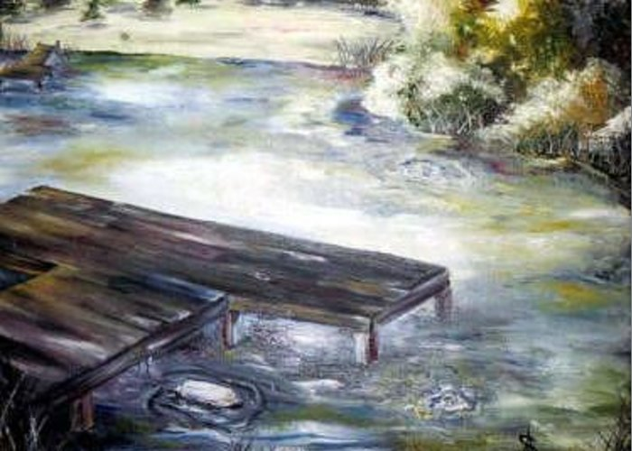 Pier Greeting Card featuring the painting Daddys Escape Sold by Amanda Sanford