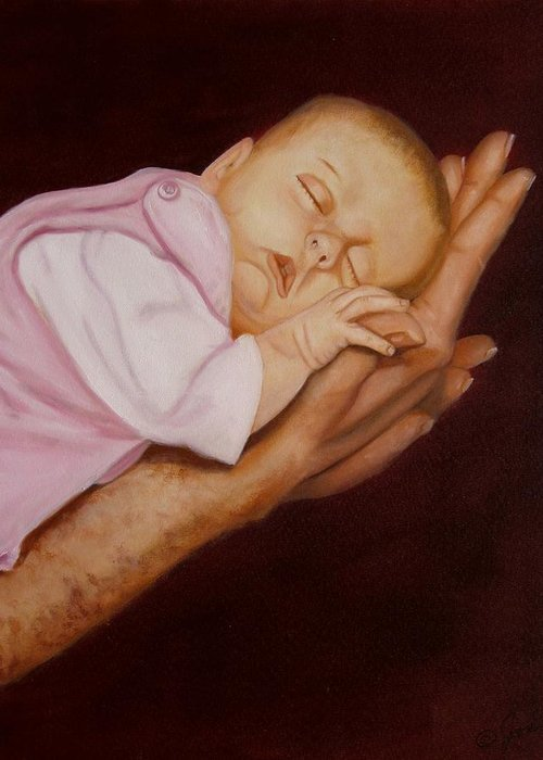 Baby Greeting Card featuring the painting Daddy's Little Girl by Joni McPherson