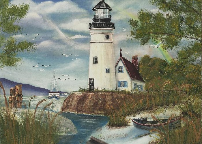 Greeting Card featuring the painting Dads Lighthouse by Darlene Green