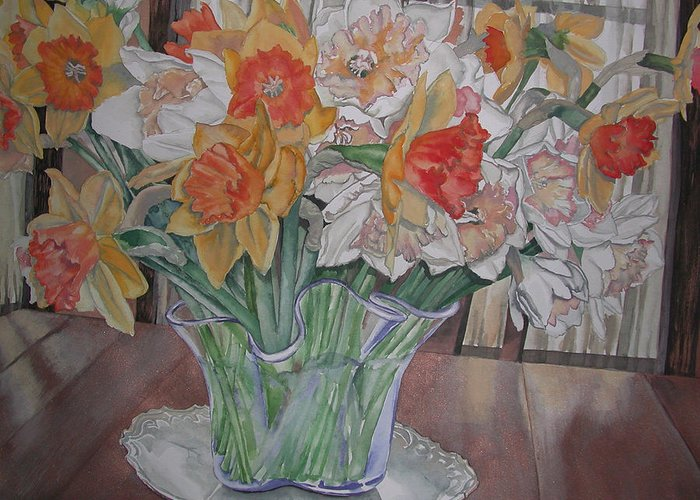 Watercolor Greeting Card featuring the painting Daffodil Bouquet by Caron Sloan Zuger