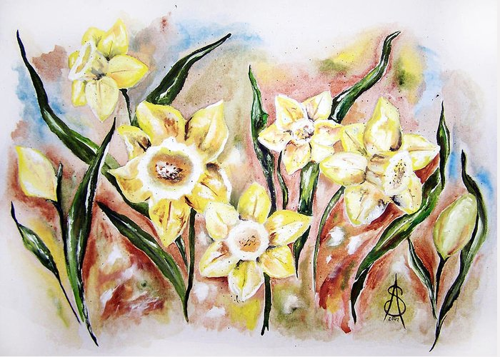 Floral Greeting Card featuring the painting Daffodil Drama by Amanda Sanford